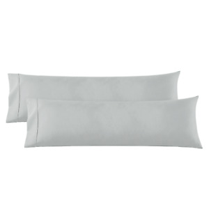 Body Pillowcase - 2 Microfiber Pillowcase -Body Pillow Size 20x54, Silver Gray
