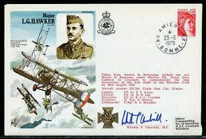 AMIENS FRANCE 1979 FLOWN COVER BY LG HAWKER WHERE HE CRASHED DURING WW II AUTOGH