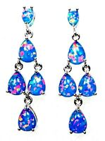 Silver 925 SF Post Chandelier Earrings 8*6mm  6*4mm Blue Lab Fire Opal Cabochon