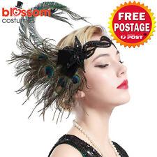 K609 Peacock Gatsby Headpiece Flapper 1920s Costume Headband Headdress Feather