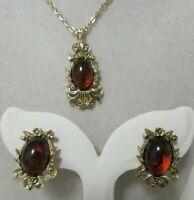 Vintage Gold Tone Topaz Rhinestone Pendant Necklace & Matching Pierced Earrings