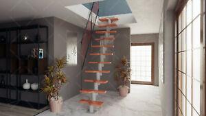 Bois Escalier Escalier 11 Marches-niveaux Largeur 75 cm/Hauteur 222-270 cm