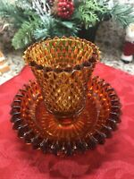 Vintage Amber 2-piece Glass Votive/Candleholder By Indiana Glass. Saw Tooth Edge