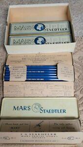 6 VINTAGE STAEDTLER MARS TINS w/ 41 PENCILS + 42 ZANER PENCILS-BOTH ORIG BOXES