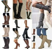Fashion Women Winter Flats Casual Slouch Long Boots Knee High Roman Shoes Size
