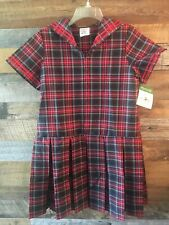 Nwt New Dennis Girls Red Plaid Pleated Sailor Uniform Dress Size 16