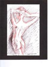 FEMALE NUDE  by Ruth Freeman INK  ON PAPER MOUNTED ON MAT BOARD 8 X 10