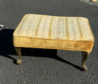 Vintage Antique Footstool Brass French Curved Fabric Velvet 16-1/2x12-1/2x8-1/2