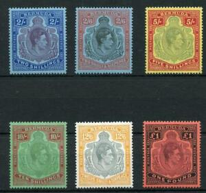 Bermuda 1938-53 George VI Keyplate MLH set of 6