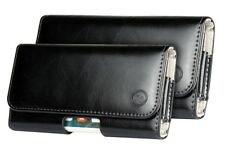 For Huawei Y6 2018 Black Genuine Leather Tradesman Belt Clip Loop Case Cover