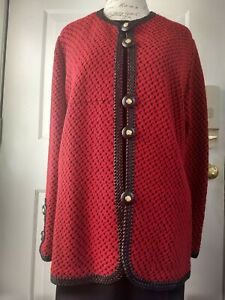 Lihli at Saks Fifth Avenue Open Front Jacket with Leather Trim Size XL-L