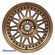 VarrsToen DS12 Wheels 15 x 8 +25 Bronze Deep Dish Step Lip Rims 4x100 Stance E30