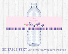 Pink & Purple Butterfly Water Bottle Labels Printable Editable PDF