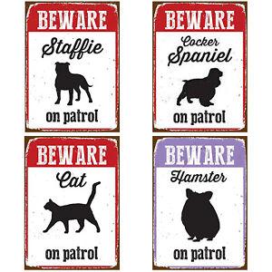 A5 Beware Metal Tin Sign Staffie Cocker Spaniel Cat Hamster Vintage Retro Look
