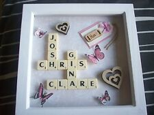 """8x8"""" Personalised Scrabble Word Art Picture Frame - Choose Own Names"""