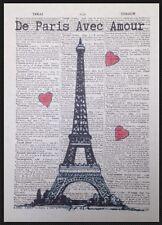 Vintage Eifelturm Paris Wörterbuch Druck Bild Wandkunst Liebe Herz Französisch