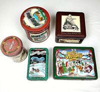 5 Vintage Christmas Tin Canister Life Savers Keebler Hallmark Snickers MilkyWay