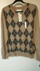 Men's L/G Haggar Camel w/ Brown Argyle Sweater, New w/ tags Free U.S. Shipping