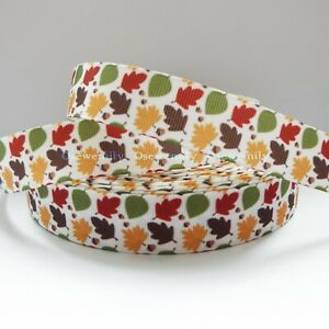 Per Metre - Autumn Leaves 22mm - Printed Grosgrain Ribbon /Party Cake/Hair Bow