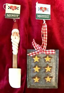 Eddie Walker Midwest Of Cannon Falls Santa Spatula And Cookie Sheet Ornaments