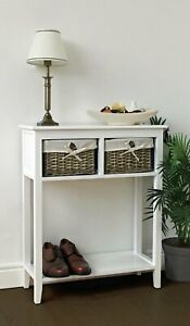 French Console Table Vintage Hallway Furniture Small Shabby Chic Shelf Drawers