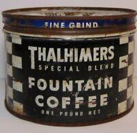 Old Vintage 1950s THALHIMERS COFFEE KEYWIND COFFEE TIN 1 POUND RICHMOND VIRGINIA