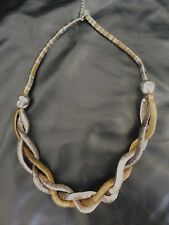 CHUNKY SILVER & BRONZE FASHION ROPE STATEMENT NECKLACE