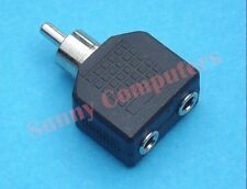 2x Dual Female Jack 3.5mm to Male RCA Plug Audio Adapter Converter Connector
