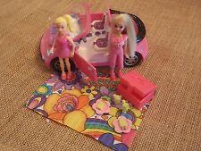Polly Pocket Pink Car Convertible Camping Travel Picnic Lot Set X84