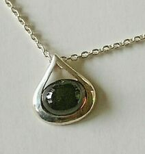 Vintage Signed Kit Heath Sterling Silver Necklace w Smokey Topaz Pendant Classy!