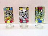 Set Of 3 Stained Glass Highball Beer Cups Miller, Falstaff, Black Label