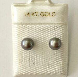 Black Cultured Pearl Round 6 - 7 mm With Solid 14K Yellow Gold Stud Earrings NEW