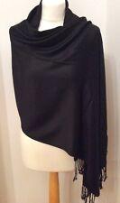 Black Super Soft Fine Knit Cashmere Wrap/Scarf