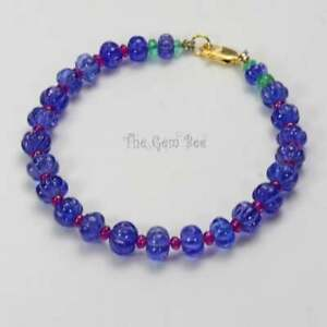 18k solid gold Tanzanite Carved Melon Ruby Emerald Rondelle Bead Bracelet 7 inch