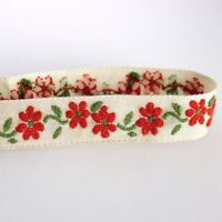 Flaxen Red Elegant Flower Embroidered Fringe Jacquard Ribbon Edging Sewing Tape