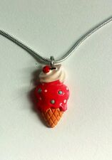 Childrens Pink Kitsch Ice Cream/lolly Necklace 16 Inch  925 silver snake chain.