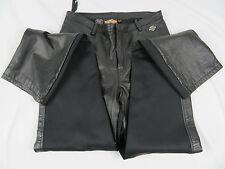 Harley Davidson Women's Black Leather Fronts Back Spandex Size 36/8 W Pants