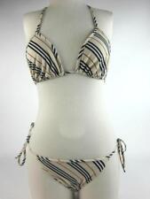"""Authentic BURBERRY: Beige """"Nova Stripe"""" Bikini/Swimsuit Sz: M (6 to 10)"""