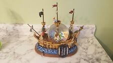 Disneyland Peter Pan Pirate Ship Snow Globe Plays You Can Fly Lights Up