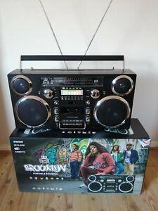 GPO BROOKLYN - PORTABLE BOOMBOX - CASSETTE / CD / DAB RADIO / BLUETOOTH - BLACK