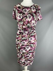 BNWT Laura Ashley RRP £80 Pink Multi Rose Floral Jersey Dress Gathered Knot