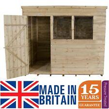 8x6 Pressure Treated Wooden Garden Shed 8ft x 6ft Pent Roof Single Door Overlap