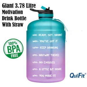 Water Bottle Motivational 3.7L Drink Flask With Time Markings BPA Free Sport Gym