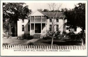"""1940s CLAREMORE, Oklahoma RPPC Real Photo Postcard """"Birthplace of Will Rogers"""""""