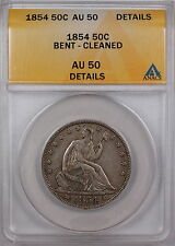 1854 Seated Liberty Silver Half Dollar ANACS AU-50 Details Bent Cleaned Coin