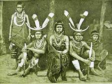 MANIPURI WARRIORS FAMILY INDIA 1891 Antique Engraving Art Matted