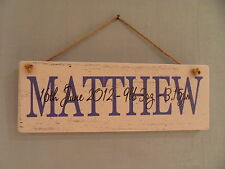 Shabby personalised new baby name hanging plaque/sign chic and unique