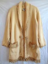 LIANNE BARNES Cardigan Sweater with Leather Fringe Sz 3