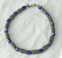 Vintage Etched solid STERLING SILVER cobalt blue bead 8 in. BRACELET 925 BOHO