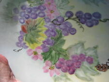 ANTIQUE PT BAVARIA TIRSCHENREUTH GERMANY FRUIT PURPLE PINK GRAPE VINE CAKE PLATE